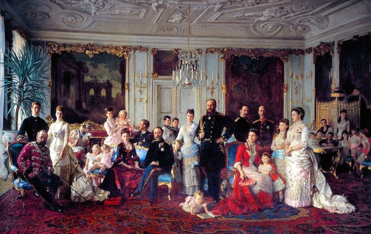 Laurits Tuxens maleri af Christian 9 - hele Europas svigerfar - omgivet af sin familie,